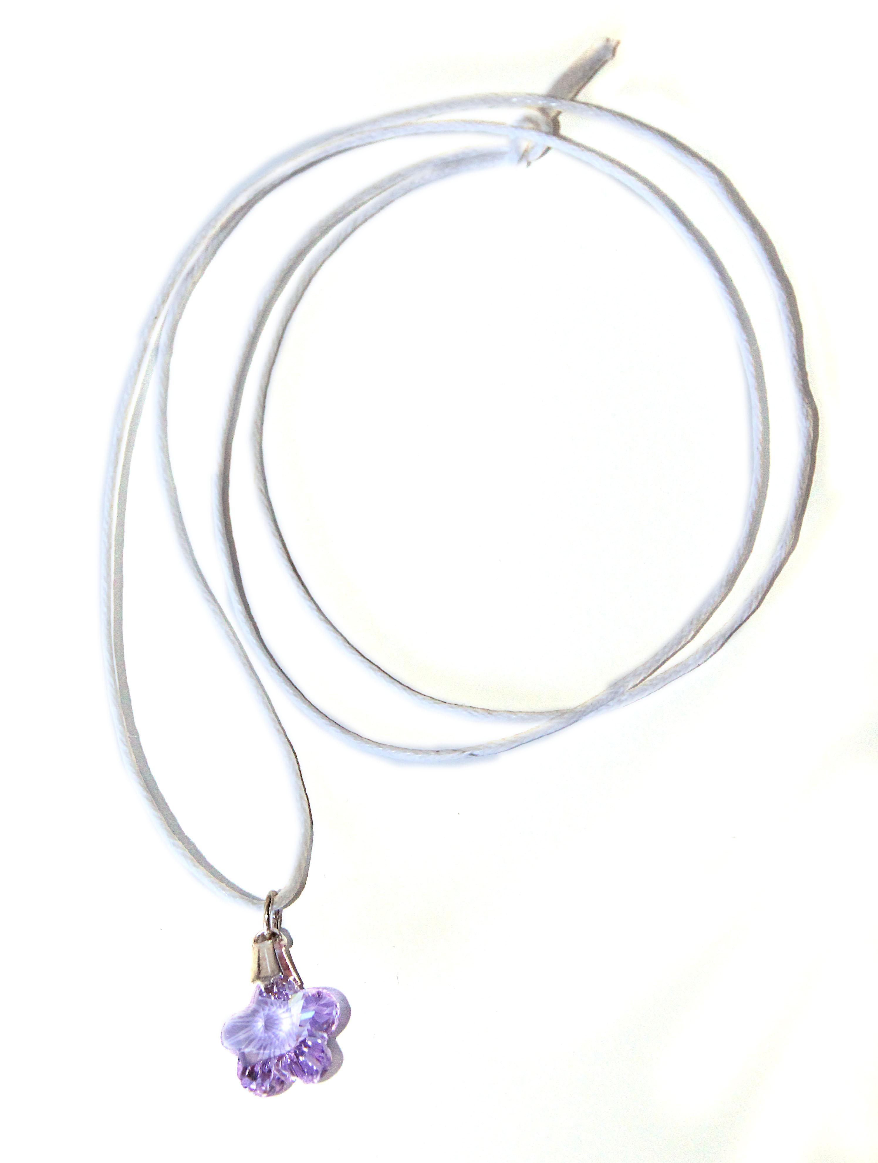 Waooh - gioielli - Swarovski fiore viola e cavo pendente cera /