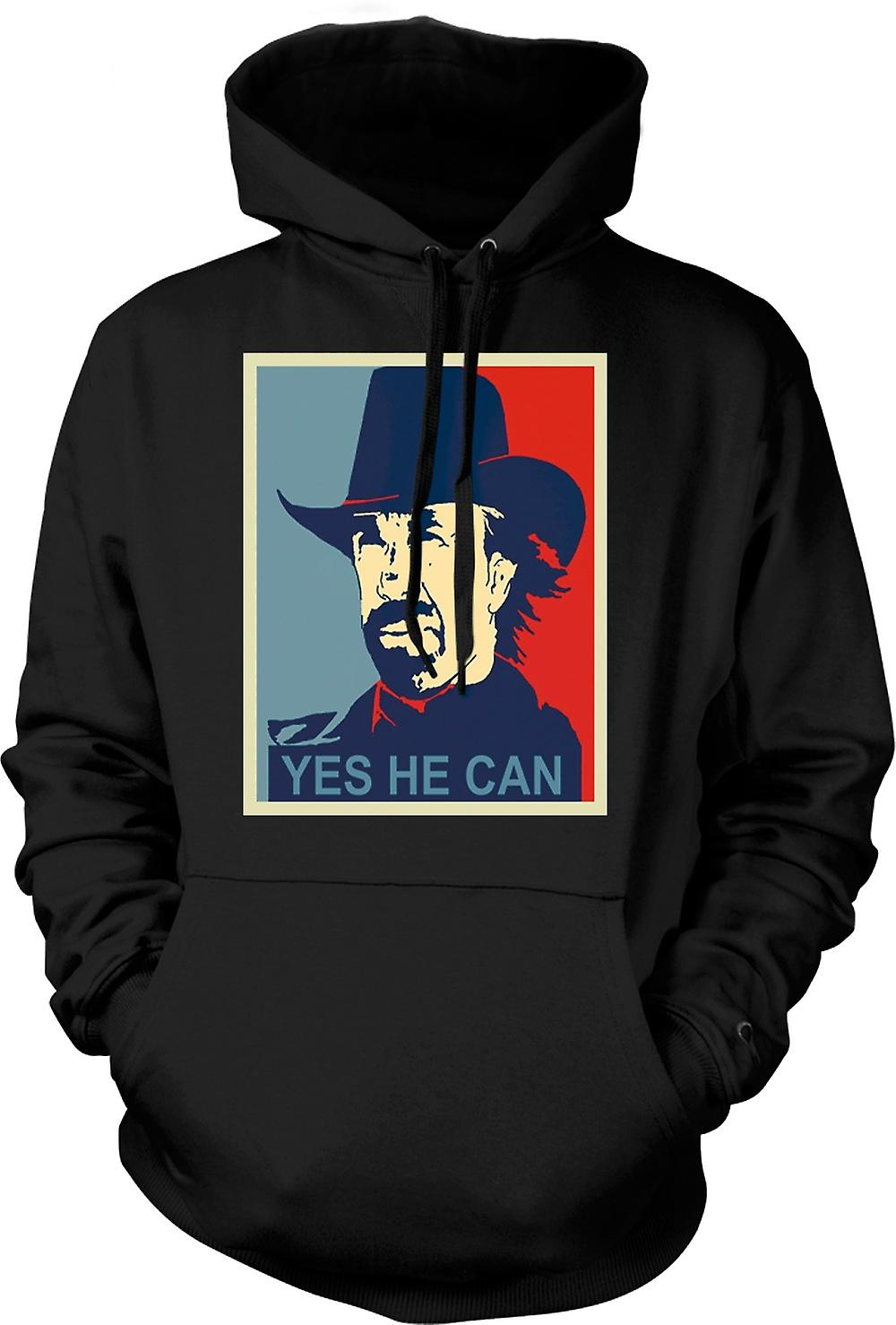 Mens Hoodie - Chuck Norris Obama - Yes He Can
