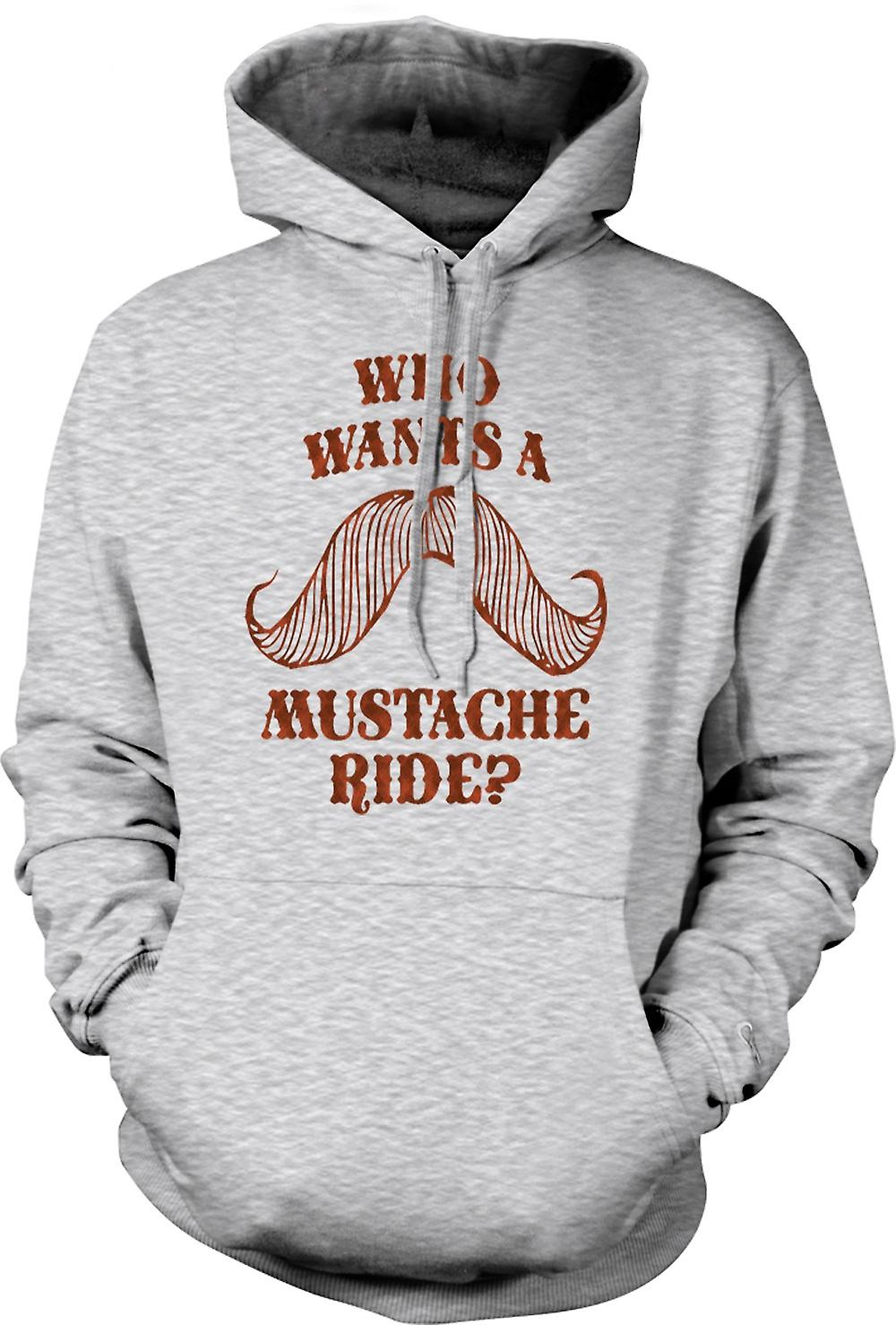 Mens Hoodie - Who Wants A Moustache Ride - Quote
