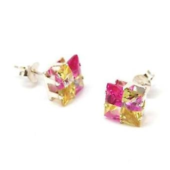 Toc Sterling Silver 8mm Princess Cut Pink and Amber Stud Earrings