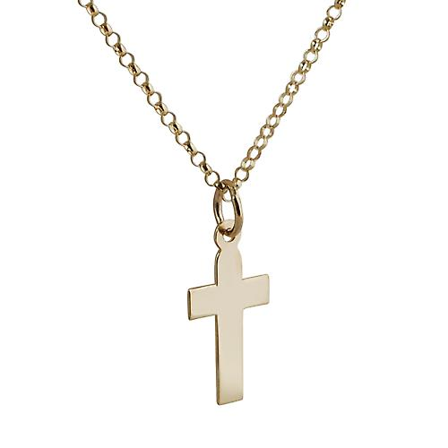 9ct Gold 15x11mm plain flat latin Cross with belcher Chain 18 inches