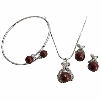 Attractive Bridesmaid Jewelry Set with Bracelet In Bordeaux Pearls