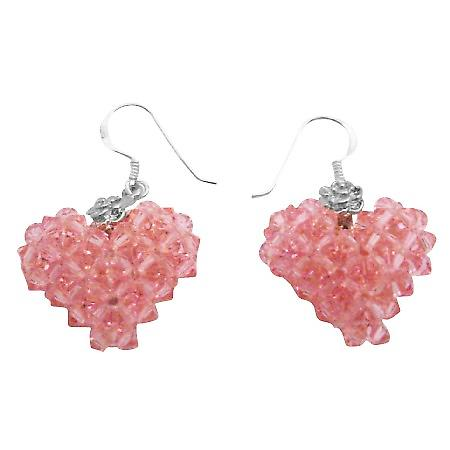 Hollywood Style Swarovski Crystals Lite Rose Puffy 3D Heart Earrings