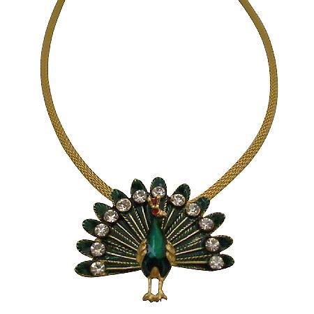 Uniquely Designed Peacock Pendant Necklace