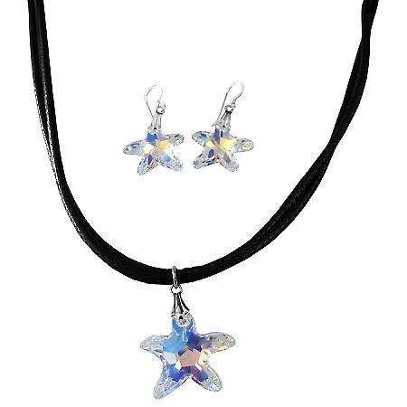 AB Star Fish Crystals Star Pendant Jewelry Set Fish Pendant & Earrings