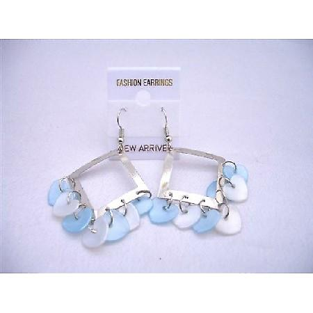 Aquamarine Blue Heart Dangling Diamond Frame Chandelier Earrings