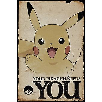 Pokemon Pikachu Needs You Poster