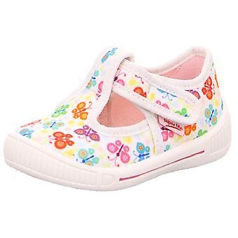 Meninas Superfit intimidar 4-265-10 sapatos de lona borboleta branca Print
