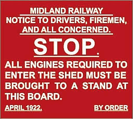 Midland Railway Stop enamelled steel wall sign    (dp)