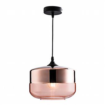 Endon 60182 Willis Copper Ceiling Pendant Light with Tinted Cognac Gla