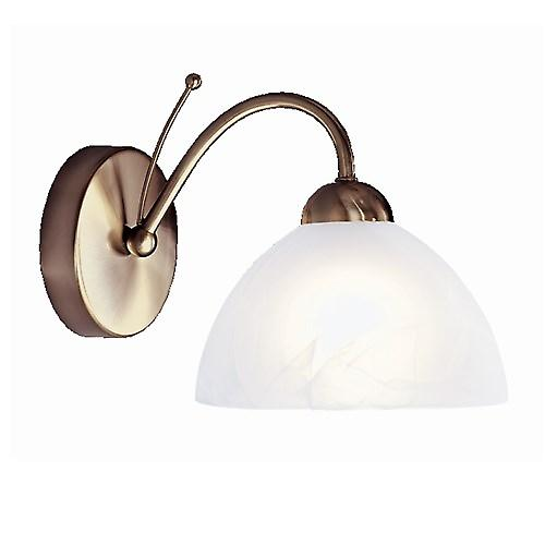 Searchlight 1131-1AB Milanese Antique Brass Single Wall Light With Alabaster Glass