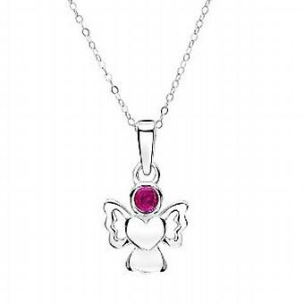 Jo For Girls Sterling Silver July Birthstone Angel Ruby Color Pendant