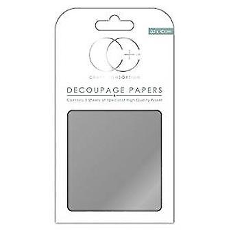 Craft Consortium Metallic Silver Decoupage Papers (CCMDECP003)