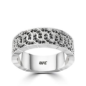 UFC-UFC Deluxe Octagon Black Diamond Ring in Sterling Zilver
