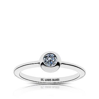 St Louis Blues St. Louis Blues graverad vit safir ring