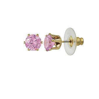 Eternal Collection Tara Light Pink Crystal Gold Tone Stud Pierced Earrings