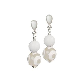 Eternal Collection Portamento White Jade And Agate Beaded Drop Clip On Earrings