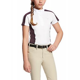 Ariat Girls Aptos Colorblock Show Camisa - Blanco/plum