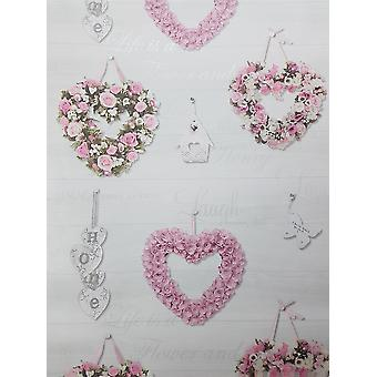 Roses Floral Wood Effect Wallpaper Wreath Hearts Grey Pink Holden Decor Gracie