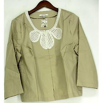 Liz Claiborne York Cropped Jacket w/ Pockets Khaki Beige A215244