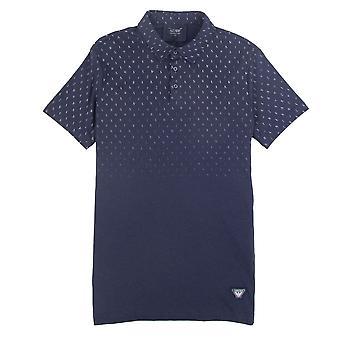 Armani Jeans Letter Logo Short Sleeve Polo Shirt Navy