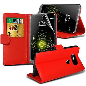 i-Tronixs LG G5 PU Leather Wallet Classic Flip Case + Screen Protector Guard -Red