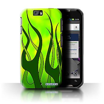 STUFF4 Case/Cover for Motorola IronRock/XT626/Green/Lime/Flame Paint Job