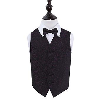 Boy's Black & Purple Swirl Patterned Wedding Waistcoat & Bow Tie Set