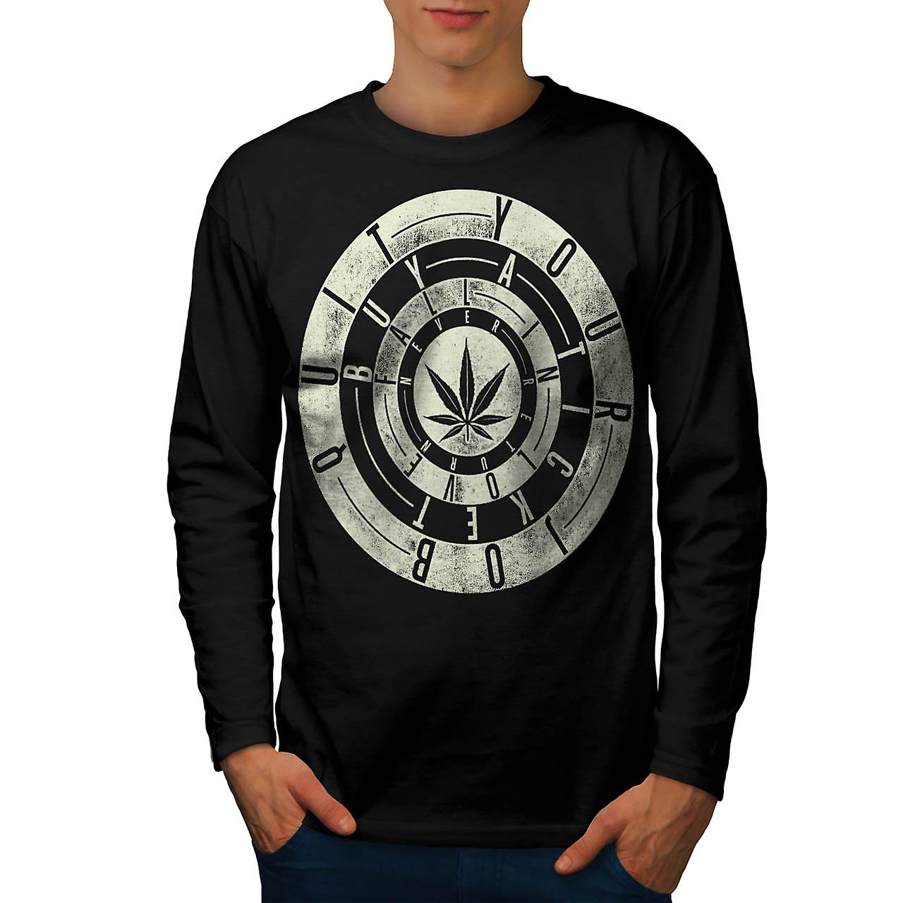 Inspirational Weed Rasta Men Black Long Sleeve T-shirt | Wellcoda
