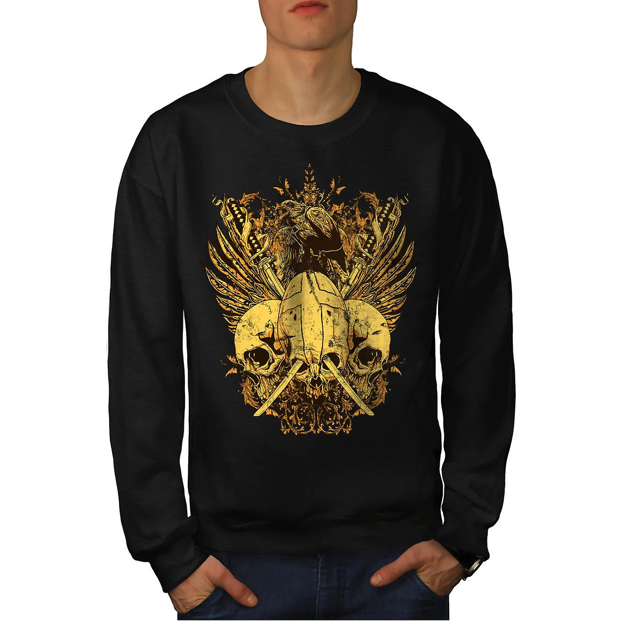 Skull Sword Fight Axe Death Bird Men Black Sweatshirt | Wellcoda