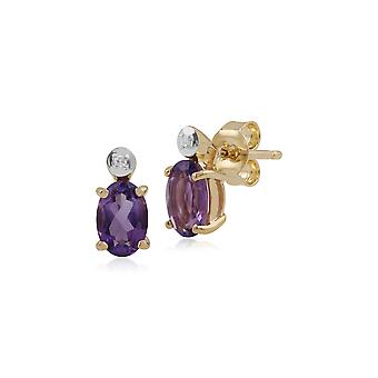 Gemondo 9ct Yellow Gold 0.78ct Amethyst & Diamond Oval Stud Earrings