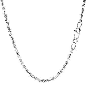 Sterling zilveren Rhodium Plated Diamond Cut Rope Chain ketting, 2.2mm