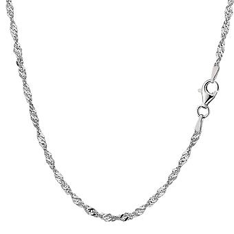 Sterling Silver Rhodium Plated Singapore Chain Necklace, 2.8mm