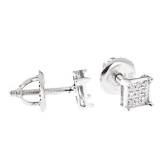 925 Silver earrings - SQUARE PRONG diamond 0.05 ct