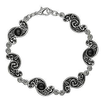 Handgemaakte S-vormige Keltische Design Zwarte Onyx edelstenen tinnen armband