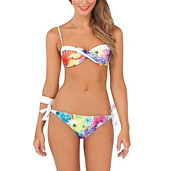 Boutique Ladies Tropical Red Twist Bikini Set with Deatchable Straps