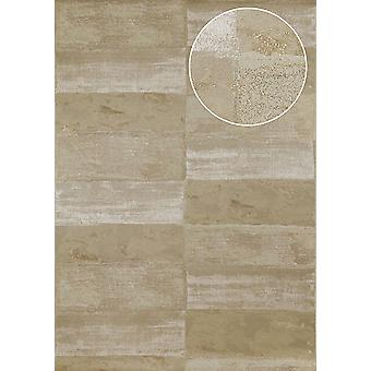 Stone tiles wallpaper Atlas ICO-5072-6 non-woven wallpaper smooth with natural patterns shimmering grey olive gray Brown-gray 7,035 m2