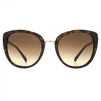 Bvlgari Metal Bridge Cateye Sunglasses In Dark Havana