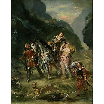 Eugene Delacroix - Angelica and the wounded Medoro Poster Print Giclee