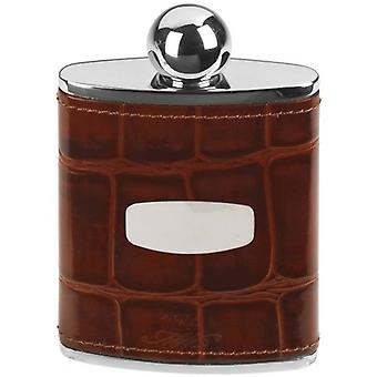 Orton oeste 3oz Croc antiguo estilo Hip Flask - marrón