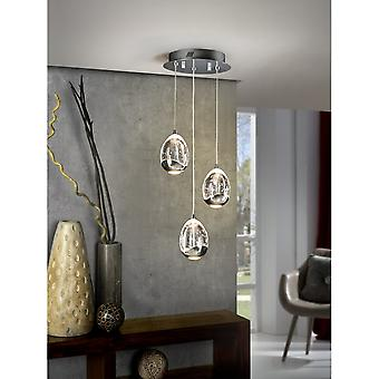 Schuller Trio Of Modern Chrome Crystal Bubble Effect Orb Pendants