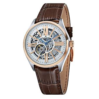 Thomas Earnshaw Es-8037-04 Armagh dos tonos y cuero marrón automático Skeleton Watch de Men