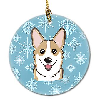 Carolines Treasures  BB1687CO1 Snowflake Sable Corgi Ceramic Ornament
