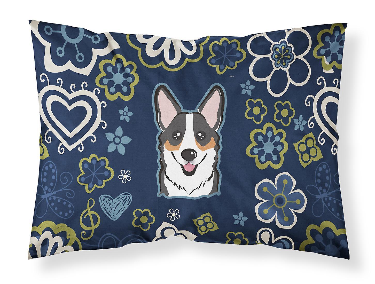 Taie Standard Corgi Tricolore Tissu D'oreiller Fleurs De Bleues CeQdorBWx