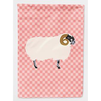 Scottish Blackface Sheep Pink Check Flag Garden Size