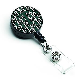 Letter T Football Green and White Retractable Badge Reel
