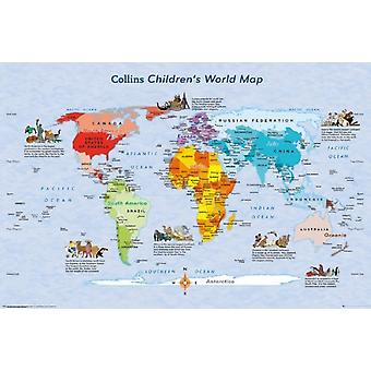 World Map Childrens Map Poster Poster Print