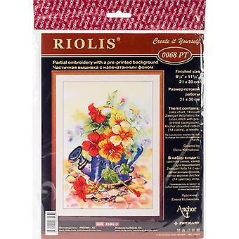 Garden Watering Can Stamped Cross Stitch Kit-8.25