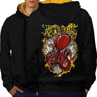 Sinful Poker Card Gamble Men Black (Gold Hood)Contrast Hoodie Back | Wellcoda