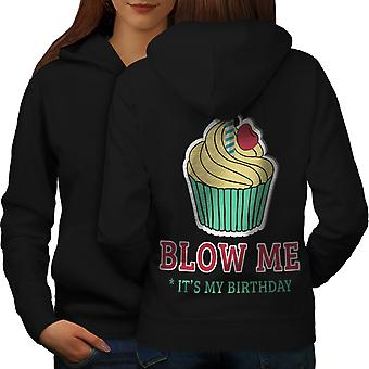 Blow Me Funny Women BlackHoodie Back | Wellcoda